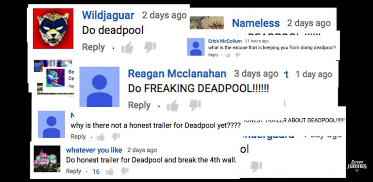 Screen Junkies Honest Trailer for Deadpool - YouTube comments