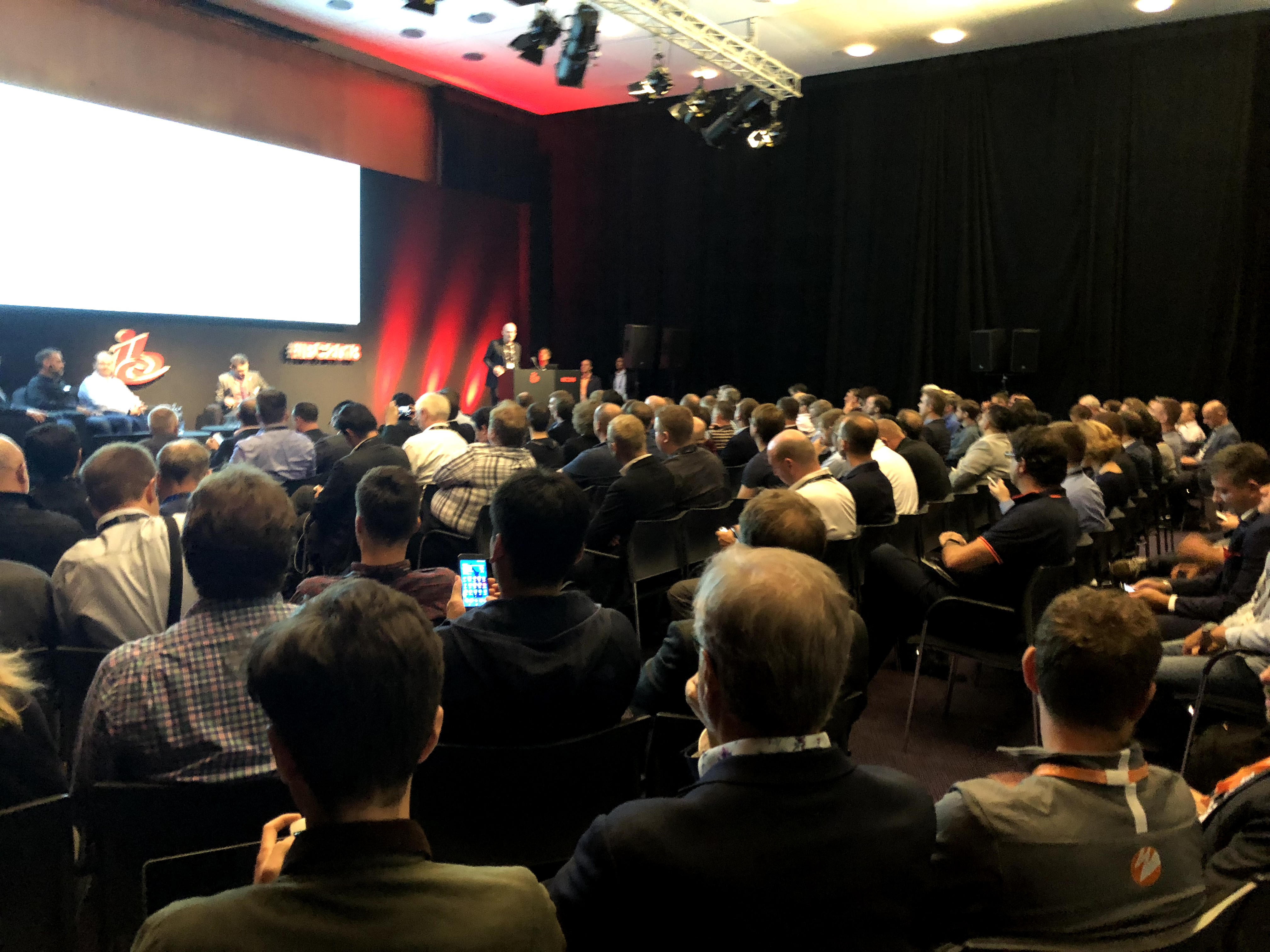 Packed room for the SRT Technical Panel IBC 2018
