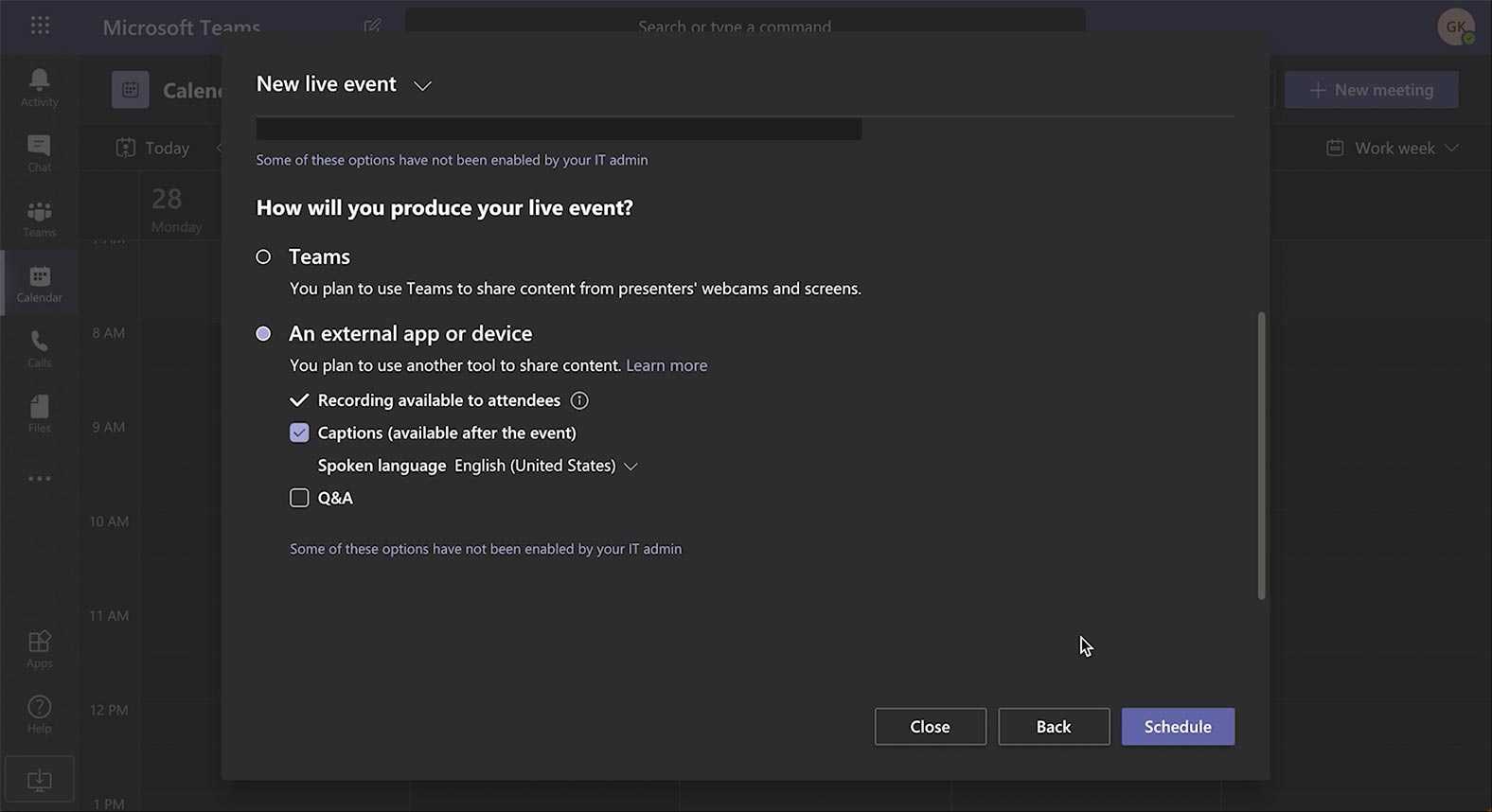 Setting up your event production for Microsoft Teams
