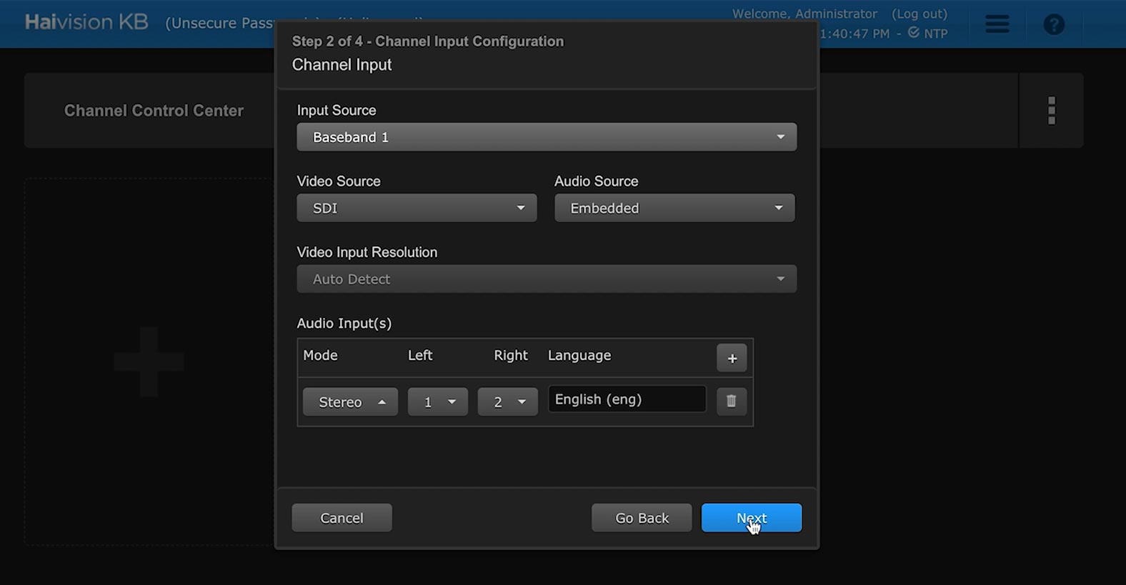 Selecting channel input for your new channel in the Haivision KB video encoder