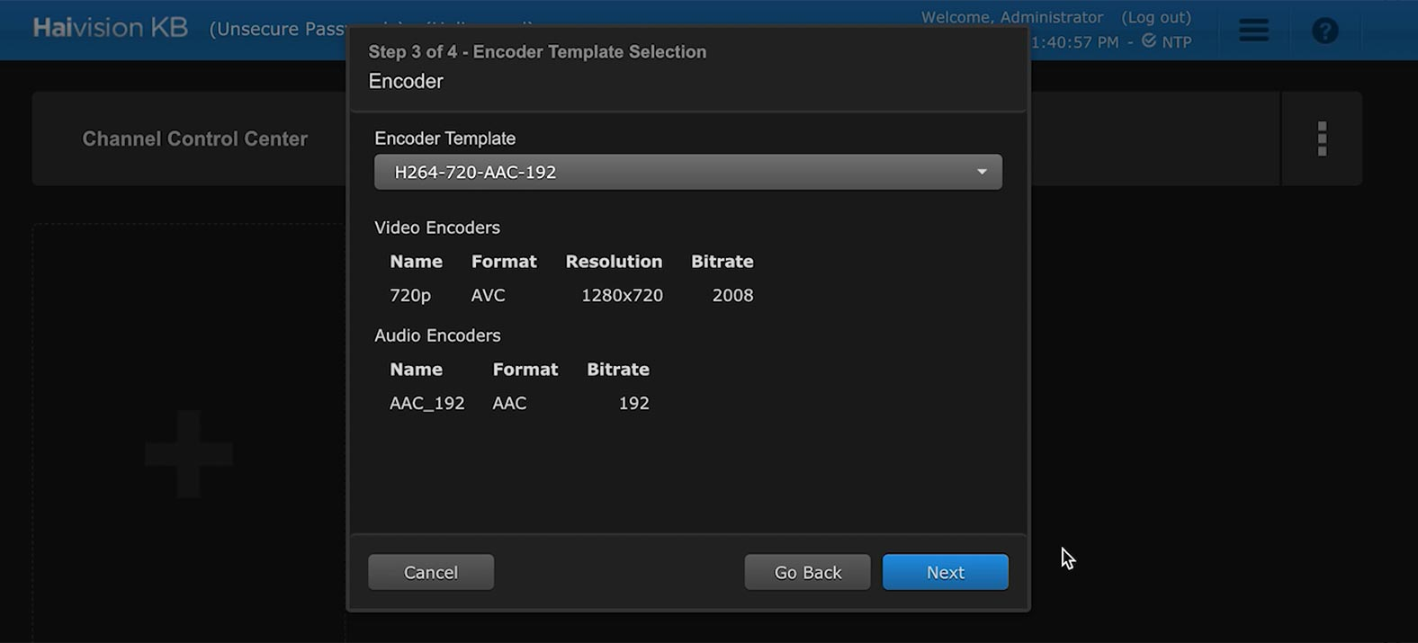 Setting up your encoder template in the Haivision KB video encoder