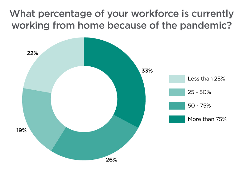 What percentage of your workforce is currently working from home because of the pandemic?