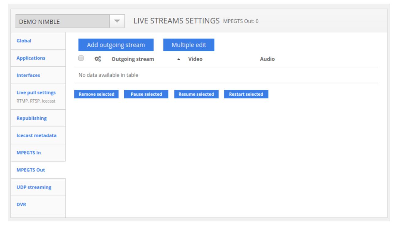 Softvelum live stream settings
