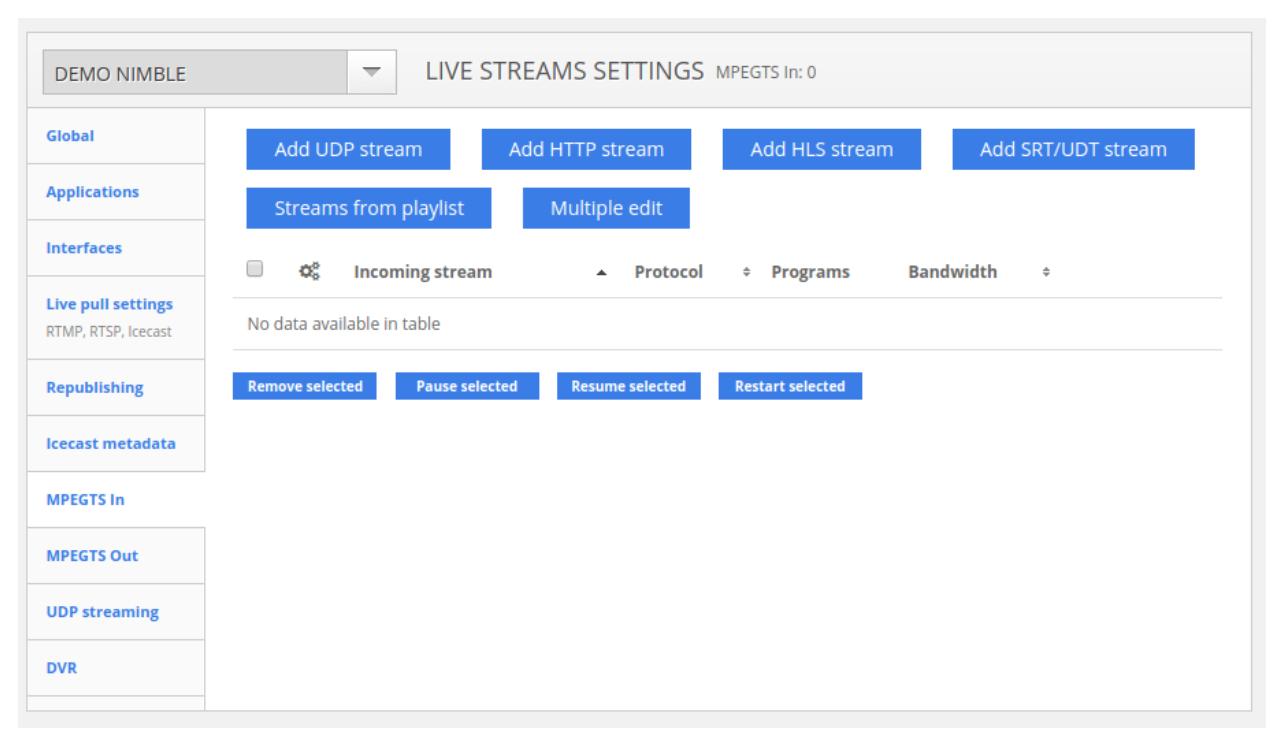 Nimble streamer settings
