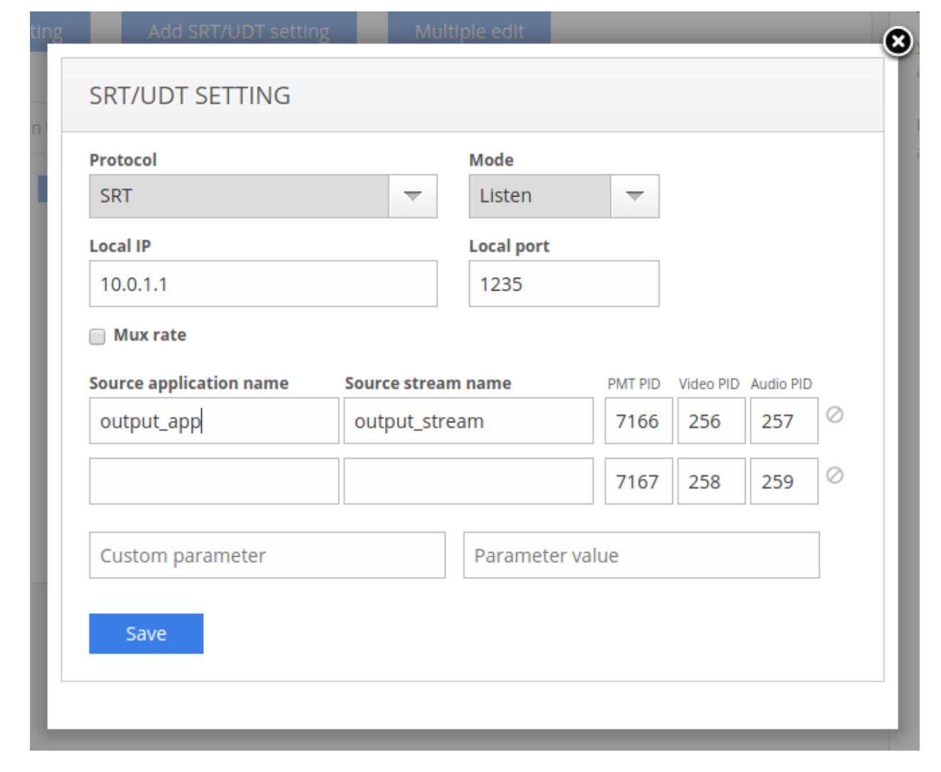 SRT UDT settings